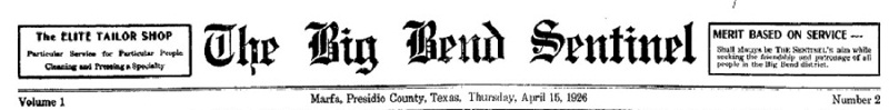 The Big Bend Sentinel 1926-04-14 - 1929
